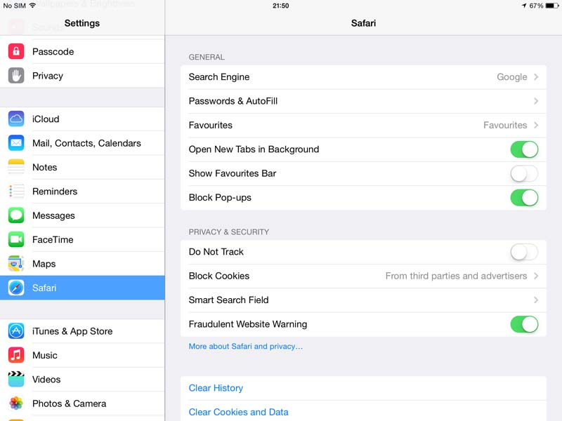 Safari on iPad - settings