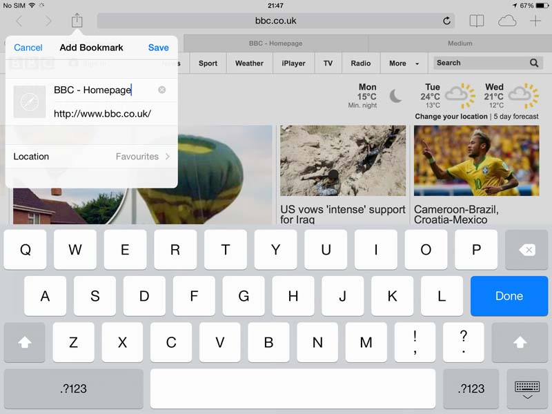 safari on iPad - add bookmark