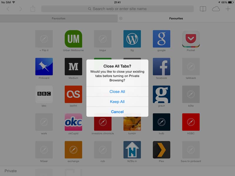 safari on iPad - private browsing
