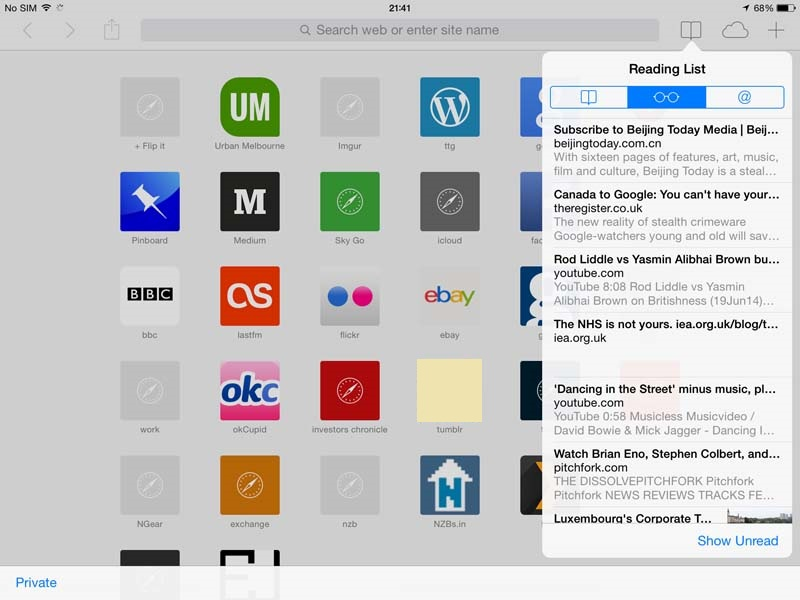 safari on iPad - reading list